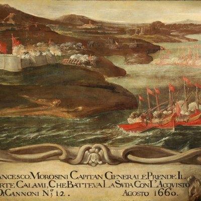 Anonimo, Francesco Morosini prende il Forte Calami, agosto 1660, olio su tela 114,5 x 161,5 cm. Venezia, Museo Correr, Cl. I n. 1332
