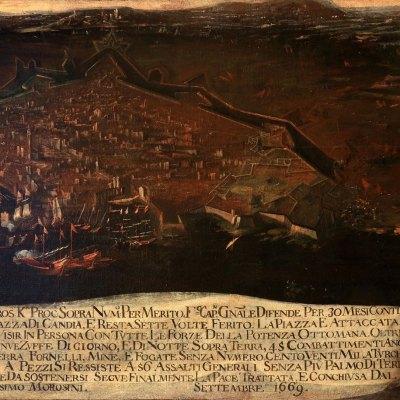 Anonimo, Francesco Morosini combatte contro i Turchi nella Piazza di Candia, settembre 1669, olio su tela 116 x 184,5 cm. Venezia, Museo Correr, Cl. I n. 1365