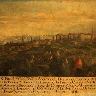 Anonimo, Francesco Morosini espugna Lepanto e lo stesso giorno Patrasso, agosto 1687, olio su tela 114 x 182,5 cm. Venezia, Museo Correr, Cl. I n. 1345